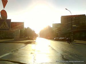 Проспект Ленина... вышло солнце.